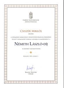 Csiszér Miklós miniszteri kitüntetése